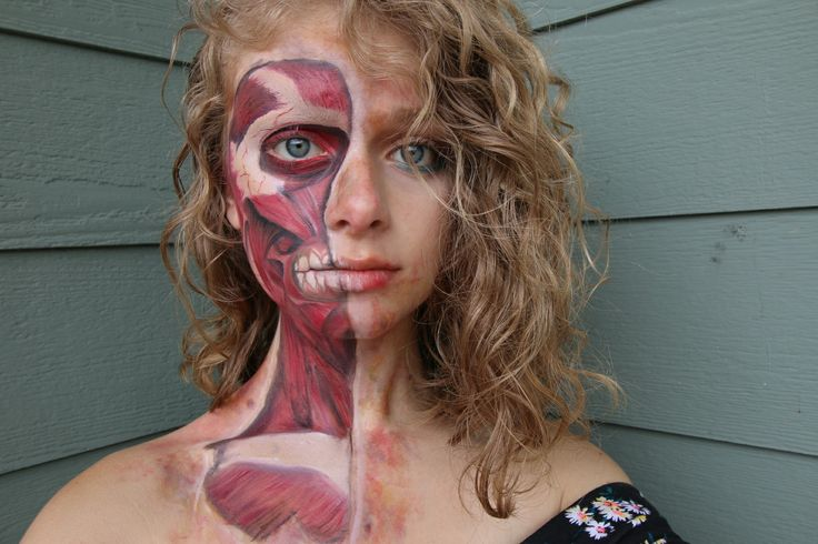 Muscle face FX makeup. Ripped skin. @girl_with_the_fake_tattoos