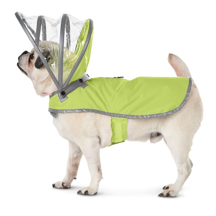 The Canine's Raincoat - Made with a water-repellant nylon exterior and lined with soft fleece for snuggly, warm comfort, the raincoat has a removable transparent hood that keeps a dog's head dry without obstructing its ears. - Hammacher Schlemmer