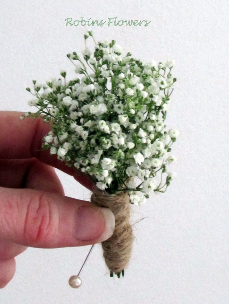 Gypsophila button hole, bound with cord for a natural look.