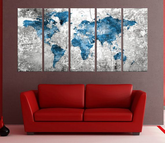 Grande Push pin mondo mappa arte tela stampa mappa