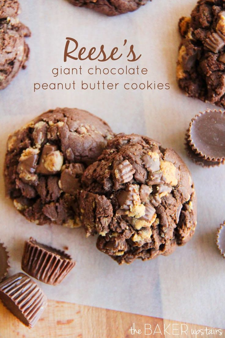 Reese's giant chocolate peanut butter cookies from The Baker Upstairs. These cookies are so delicious! www.thebakerupstairs.com