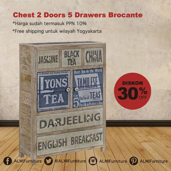 Chest 2 Doors 5 Drawers Brocante terbuat dari kayu solid yang kokoh, dengan dilengkapi tempat penyimpanan untuk barang berharga Anda di rumah. Info Pemesanan Telp. (0274) 4342 888 (Customer Service & Sales) Cek disini..http://ow.ly/XYxpf