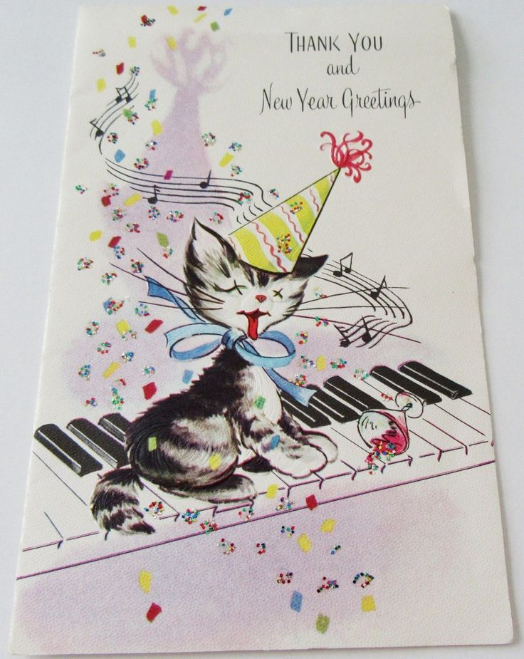 """USED Vtg New Years Card Kitten in Party Hat on Piano Keys w Tipped Drink Glitter - $2.25. card measures 4 1/8"""" x 6 5/8"""". Any card order over 10 single cards (United States only) is free shipping. I do reimburse through paypal excessive overages in postage if there are any....I believe in being very fair and reasonable on these charges. I work close to the post office so I usually ship out very quickly after payment has been made. Payment is expected within 24 hours of win,..."""