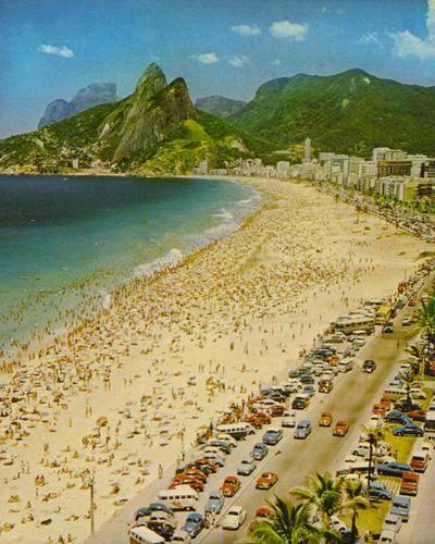 Vintage photo of Ipanema beach, Rio de Janeiro, Brasil (1970)