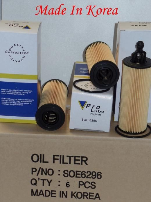 V-pro Lot 6 Engine Oil Filter With Gasket Made In Korea For:chrysler Dodge Jeep & Ram Soe6296 L36296 Ch1165 Wl10010 P1009 Cf6296 68191349aa 68191349ab Ch11665 Korea Republic Of
