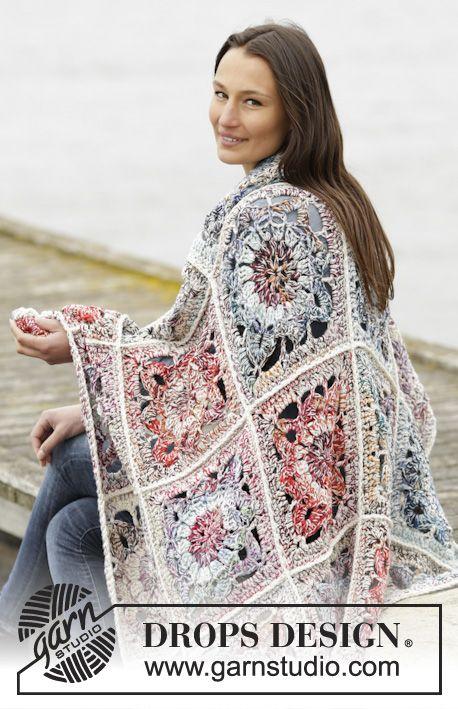 """Winter Garden - Gehaakte DROPS deken met gehaakte vierkantjes van 3 draden """"Fabel"""". - Free pattern by DROPS Design"""