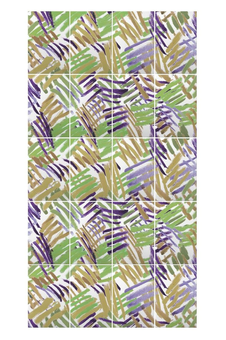 Penseelstreken Green & Purple Tiles