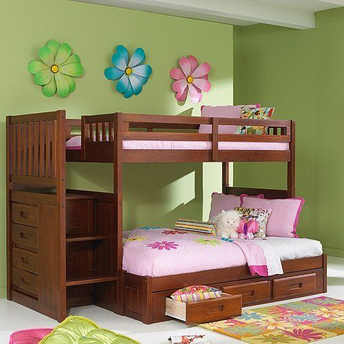Double Deck Bed For Girls With Wooden And Green Wall Paitn Color Amazing Bedroom