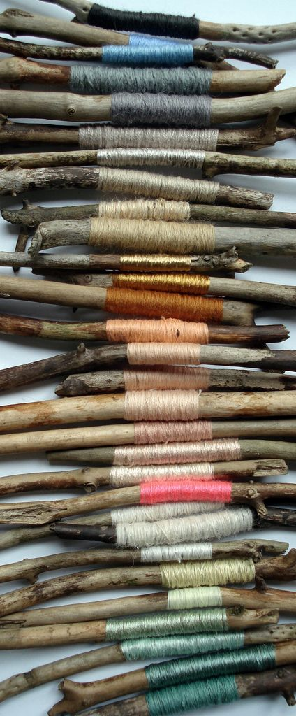 Coloured thread wrapped on wood // Kirstievn, via flickr