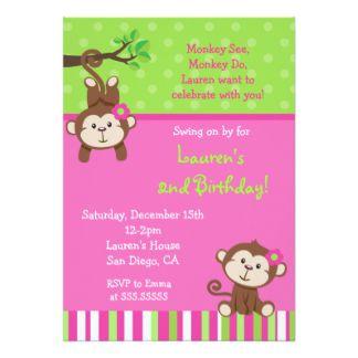 Invitaciones del cumpleaños del mono de la MOD Invitación 12,7 X 17,8 Cm