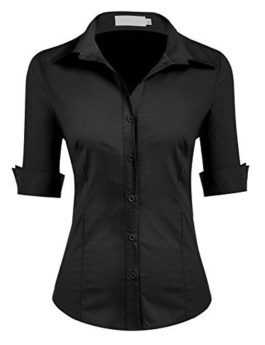 Womens Long Sleeve Slim Fit Button Down Dress Shirt  74328f1c9