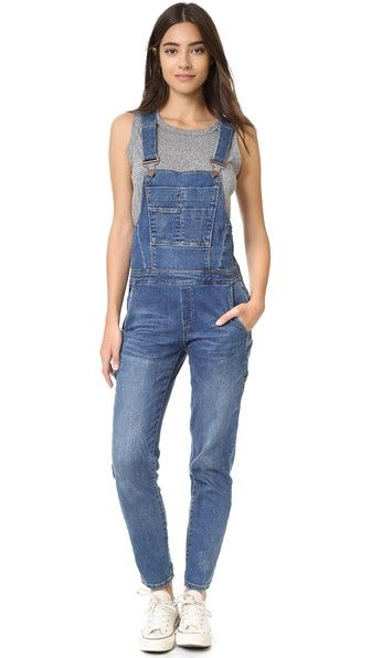 Blank Denim Denim Overalls SHOPBOP $108 Faded Blank Denim overalls with utilitarian styling and a slim fit. Adjustable buckled straps. 5-pocket styling with hammer loop. Exposed side zip. Faux fly.  Fabric: Stretch denim. 98% cotton/2% elastane. Wash cold. Imported, China.  MEASUREMENTS Rise: 8in / 20cm Inseam: 29in / 73.5cm Leg opening: 12in / 30.5cm