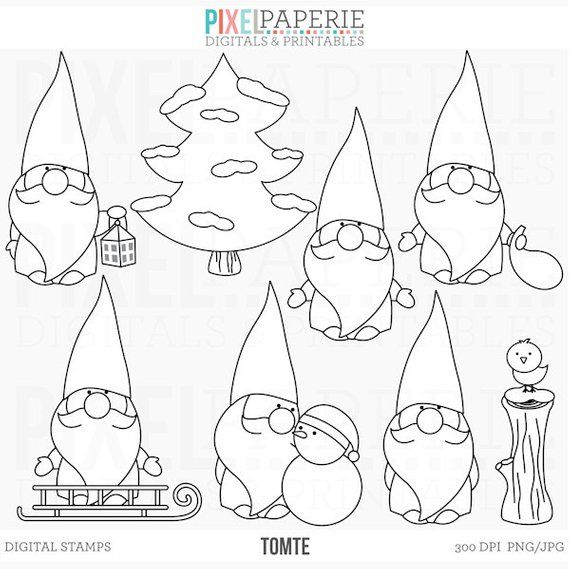 Christmas Gnome Clipart Black And White.Tomte Nisse Tomtenisse Santa Gnome Clipart Digital Clip Art