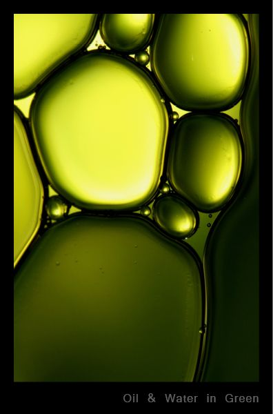 Oil & Water in Green | by Sharon Johnstone - Macro photographs of oil and water