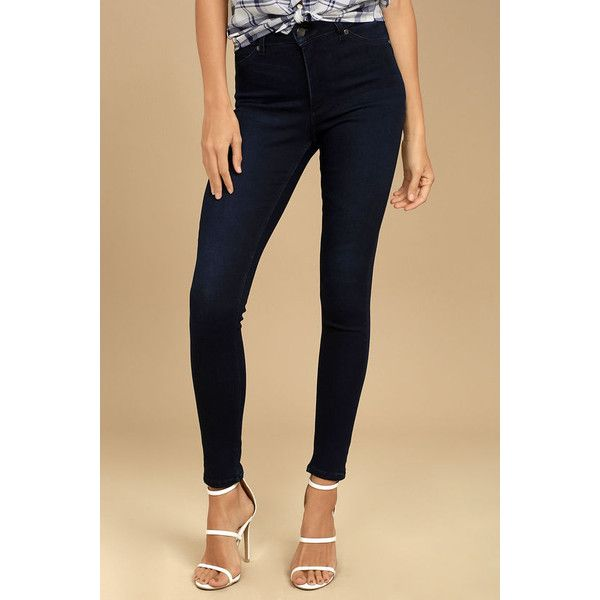 Cheap Monday High Spray Dark Wash High-Waisted Skinny Jeans ($75) ❤ liked on Polyvore featuring jeans, blue, high waisted jeans, tapered jeans, stretch jeans, brown skinny jeans and faded blue jeans