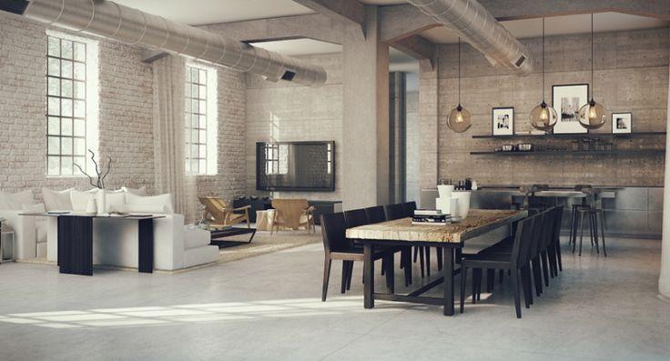 reforma integral de loft industrial, paredes de ladrillo visto pintadas de blanco con un recubrimiento parcial, suelo de microcemento