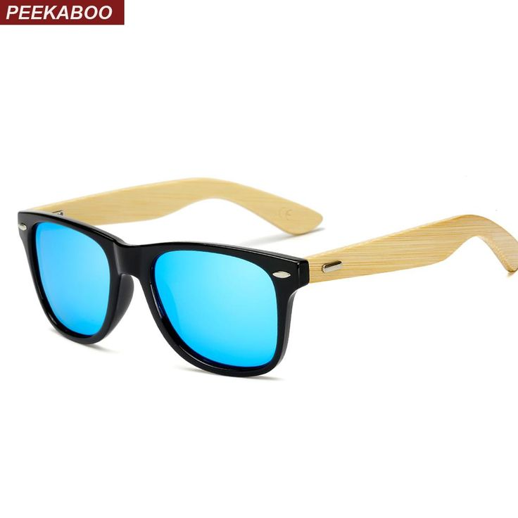 Peekaboo bamboo polarized sunglasses men driving 2018 bamboo sun glasses for women polarized pink blue red mirror uv400