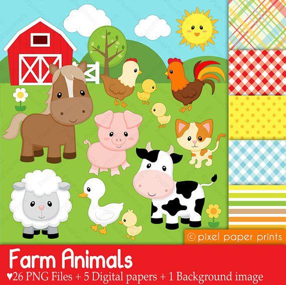 Digital clipart - Farm Animals - Digital paper and clip art set