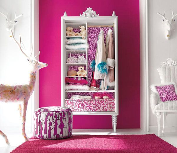 Ideas: simple bookshelf, add legs and other woodwork. Voila: a new amoire!    Charming-and-opulent-Pink-girls-room-Altamoda-Girl-2