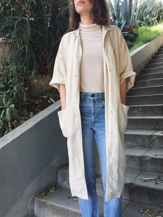 Vintage Linen Short Sleeve Button-up Jacket in Cream etsy.com/shop/claggie