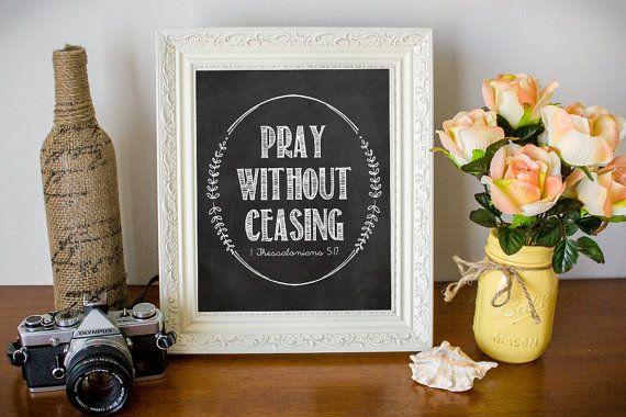 Bible Verse print, Chalkboard printable Scripture wall art decor, INSTANT DOWNLOAD - 1 Thessalonians 5:17