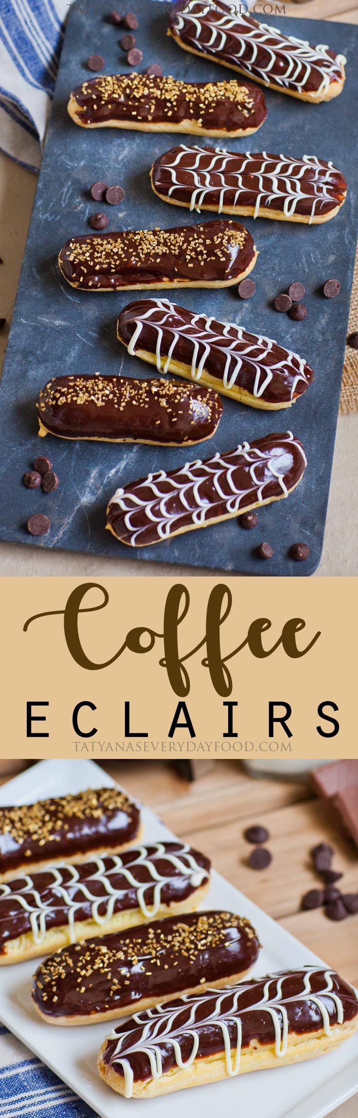 Chocolate Coffee Eclairs - this elegant, show-stopping dessert can seem intimidating to make at home, but it's actually quite easy! And you'll need just 5 ingredients for the eclair shells! View Recipe Link