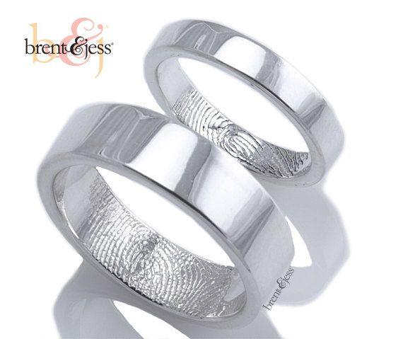 Nice Items similar to Fingerprint rings Set Sterling Silver Custom Single Fingerprint Tip Wedding or Commitment Bands on Etsy