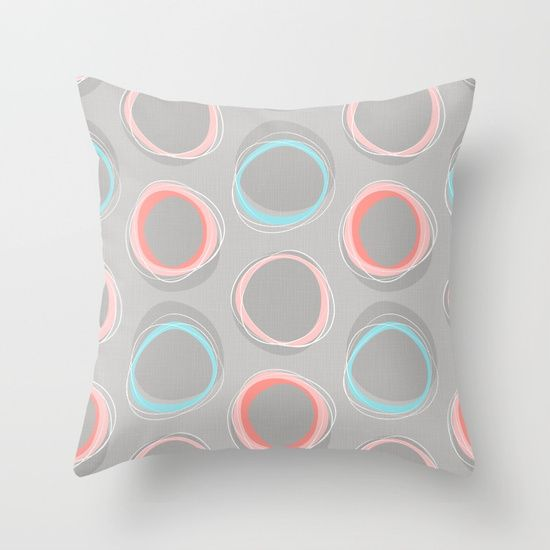 Throw Pillow made from 100% spun polyester poplin fabric, a stylish statement that will liven up any room. Individually cut and sewn by hand, each pillow features a double-sided print and is finished with a concealed zipper for ease of care.  Sold with or without faux down pillow insert. #solar #eclipse #midcentury #mcm #mia #miavaldez #baby #gray #pink #pillow #throwpillow