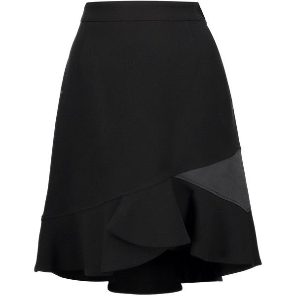 Emilio Pucci - Satin-trimmed Textured Wool-blend Mini Skirt ($448) ❤ liked on Polyvore featuring skirts, mini skirts, black, ruffle skirt, wool blend skirt, frilly skirts, short frilly skirt and ruffle mini skirt
