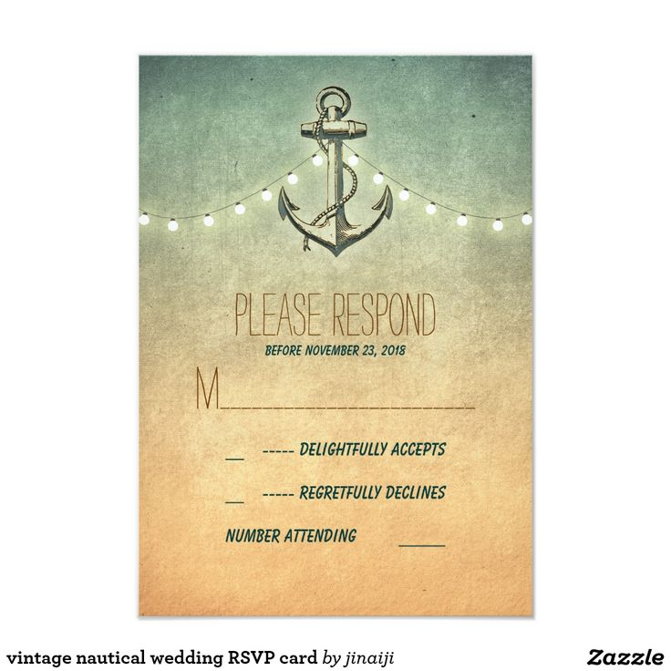 vintage nautical wedding RSVP card Rustic vintage anchor and string lights nautical wedding reply cards