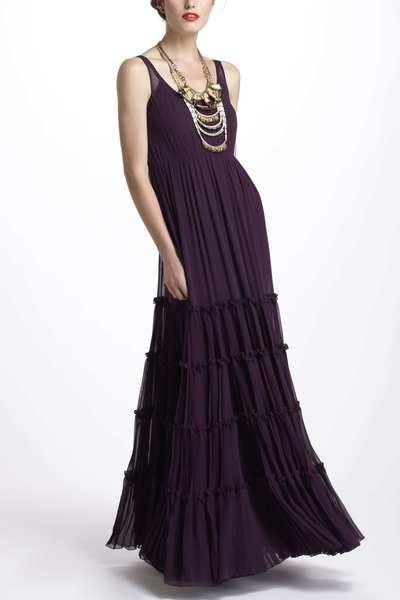 Women 39 s purple tiered silk maxi dress silk maxi dresses for Anthropologie mural maxi dress