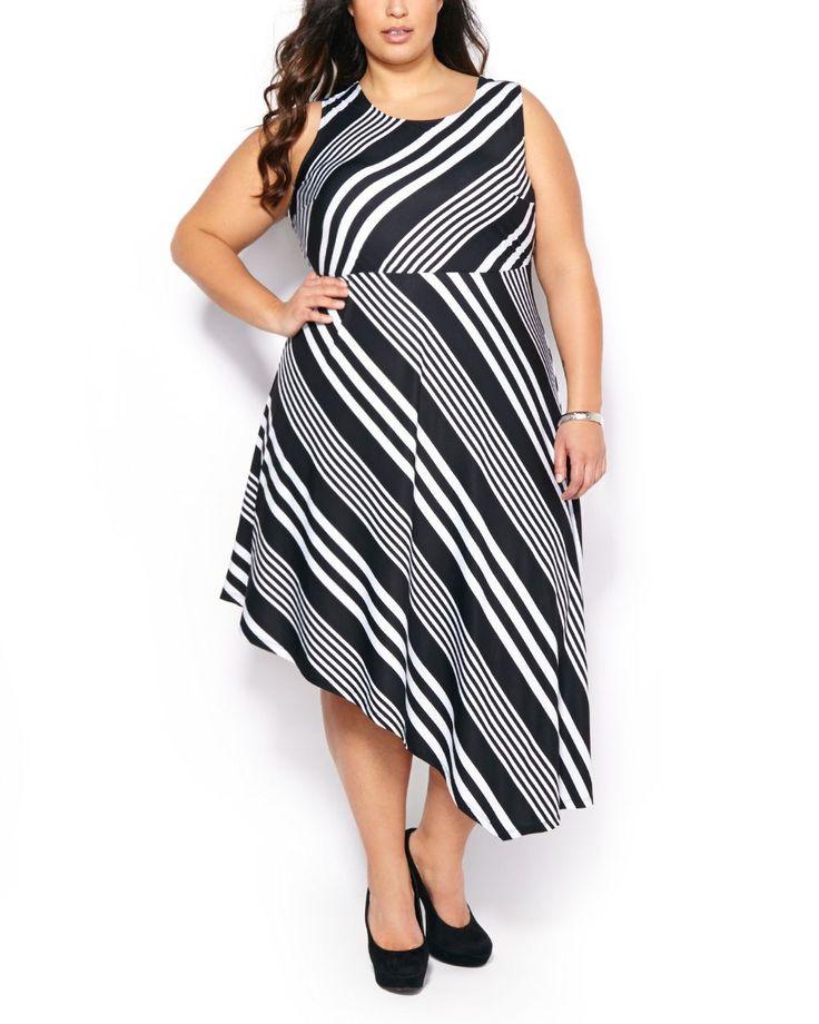 Sleeveless Striped Asymmetric Dress #penningtons #plussizefashion