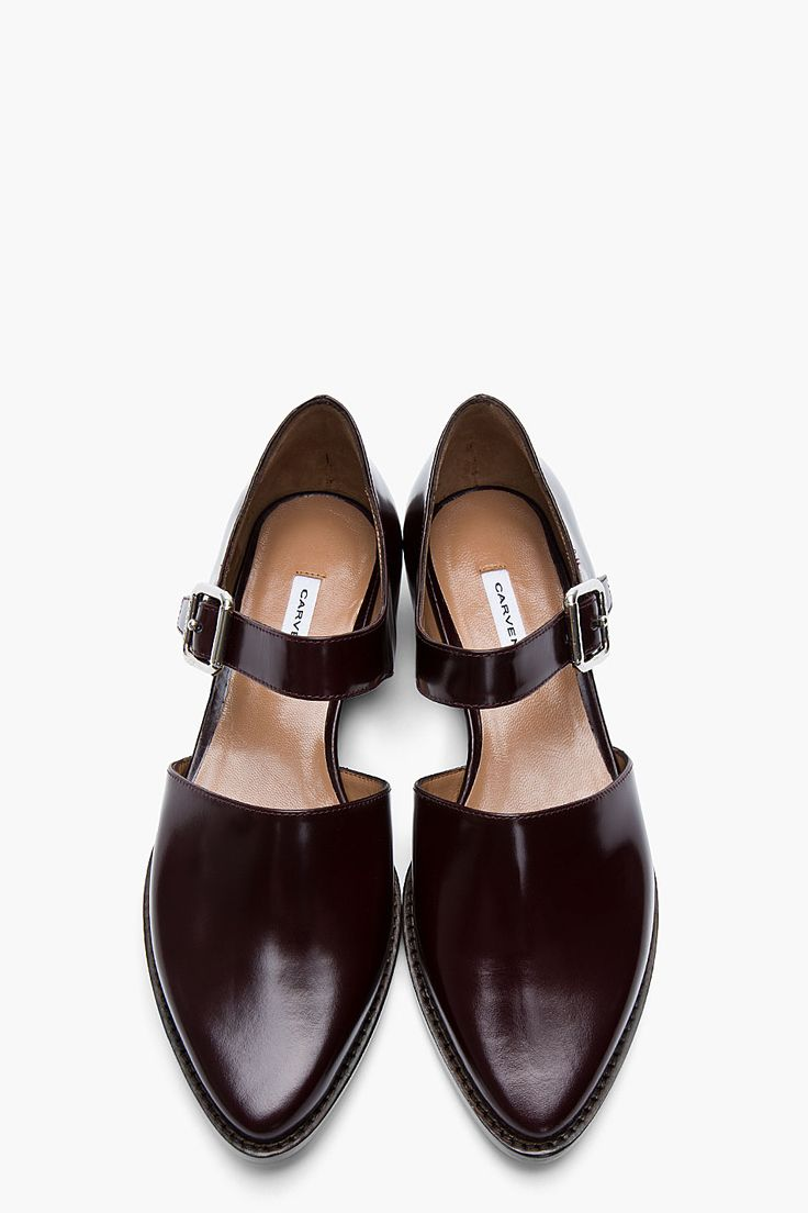 CARVEN Burgundy Leather Buckled D'Orsay Flats