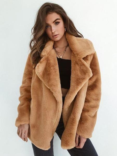 IEason Womens Solid Hooded Faux Fur Jacket Coat Winter Warm Long Sleeve Plush Overcoat