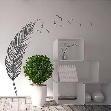 Wall Stickers Modern Feather with Flying Birds Landscape PVC Decorative Wall Decals – AUD $ 35.74