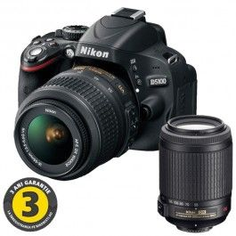 Camera foto DSLR NIKON D5100, 16.2 Mp, 3 inch, obiectiv 18-55 mm VR + 55-200 mm VR