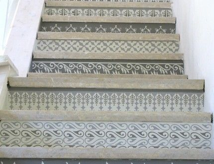 Henna Party: Stenciled Stair Risers - Paint + Pattern