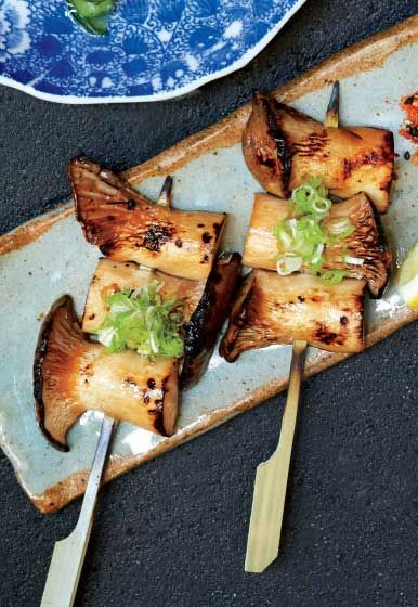 Vegetarian yakitori? It's a great thing with these king trumpet mushrooms.