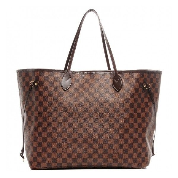 LOUIS VUITTON Damier Ebene Neverfull GM ❤ liked on Polyvore featuring bags, handbags, tote bags, louis vuitton, stripe purse, coated canvas handbag, striped tote and striped handbag