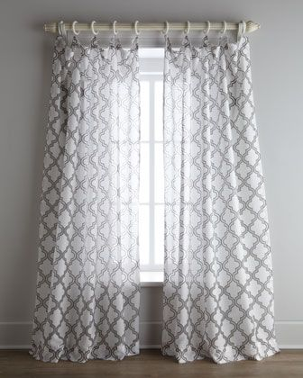 White And Gray Curtains With A Moroccan Design Bedrooms