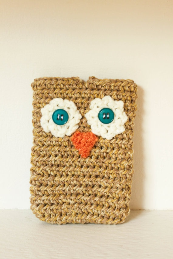 Owl Crochet Cell Phone Case by smileywileyknits