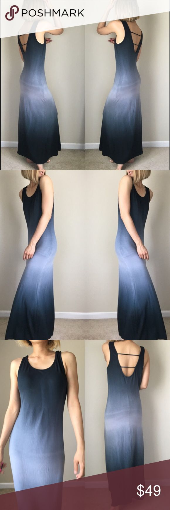"""✳️SALE Midnight ombre maxi dress. Sexy back Ombré midnight sky long dress maxi fit. 95% rayon 5% spandex . L; 55""""bust :18"""" w; 15"""" stretchable . Flat measure in inches. SEXY BACK OPEN BACK Dresses Maxi"""