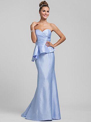 trompete / sereia namorada de varredura / escova de trem de babados de tafetá vestido de dama de honra | LightInTheBox