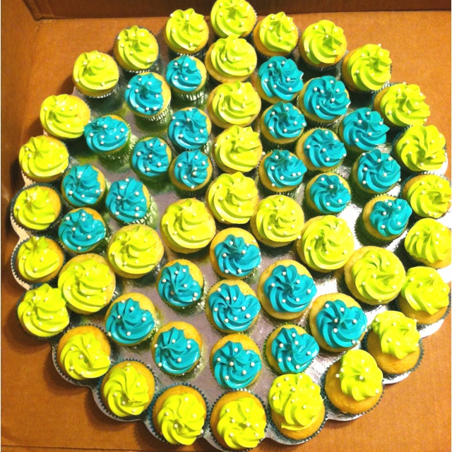 Turquoise and neon green mini cupcake peace sign for Phoebe's 9th Birthday!