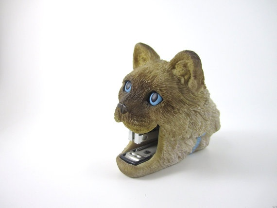 crazy office supplies. ceramic mini cat stapler by littleplaces on etsy 1600 crazy office supplies
