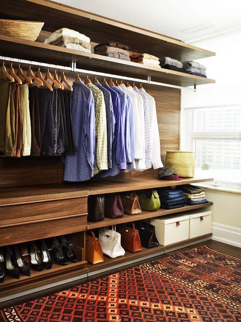Apartment, Trendy Contemporary Apartment Closet Ideas With Minimalist Interior Used Wooden Shelving Furniture And Vintage Carpet Design Idea...