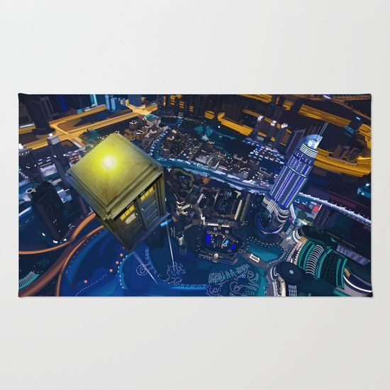 Tardis doctor who Flying at modern starry night RUG #rug #painting #watercolor #ink #3d #illustration #comic #tardisdoctorwho #doctorwho #davidtennant #publiccallbox #phonebox #starrynight #vangogh #scifi #neonlights