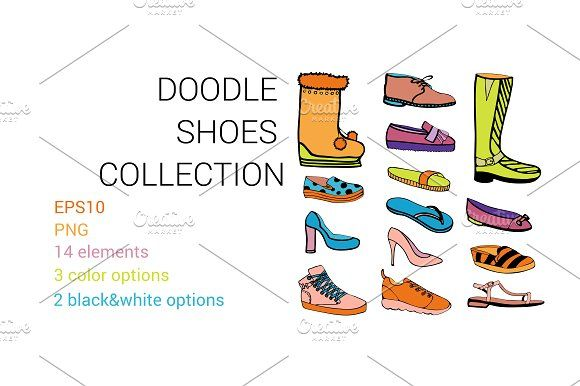 DOODLE SHOES collection by BlueOceanArtStore on @creativemarket