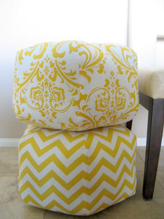 Items Similar To Ottoman Pouf Floor Pillow Yellow White Damask On Etsy