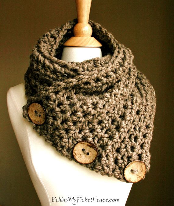 The Original BOSTON HARBOR SCARF - Warm, soft & stylish scarf with 3 large coconut buttons